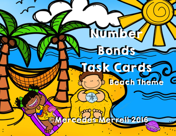 Number Bonds Task Cards Beach Theme Grades K-1