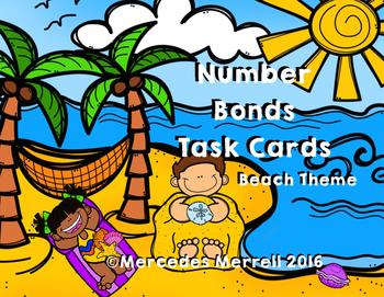 Number Bonds Task Cards Beach Theme Grades K-1