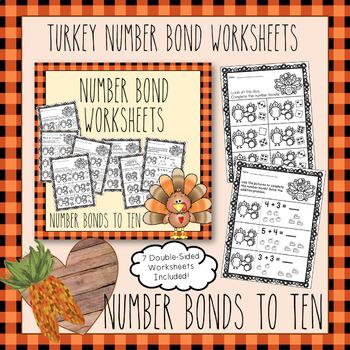 Number Bonds To 10 - (Thanksgiving Turkey Theme Bundle)