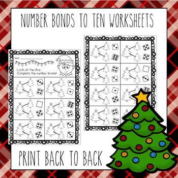 Number Bonds To 10 Worksheets - Christmas Tree Theme