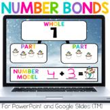 Number Bonds Winter Snowman Math for PowerPoint & GOOGLE (