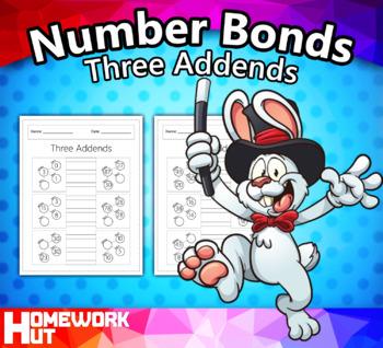 Number Bonds w/ Three Addends Worksheets