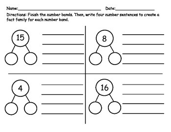 Number Bonds and Fact Families #'s 1-20