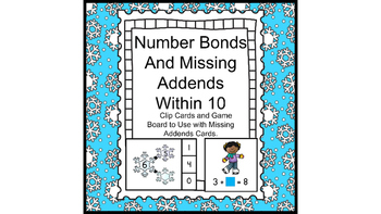 Number Bonds and Missing Addends within 10 Snowflake Theme