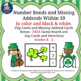 Number Bonds and Missing Addends within 10 St. Patrick's Day Theme