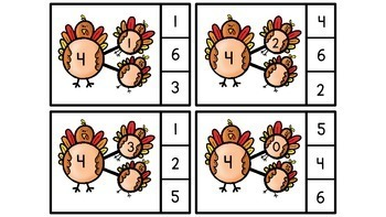 Number Bonds and Missing Addends within 10 Turkey Theme