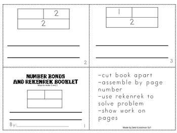 Number Bonds and Rekenrek-4 Student Booklets- how to make 5, 4, 3 and  1and 2