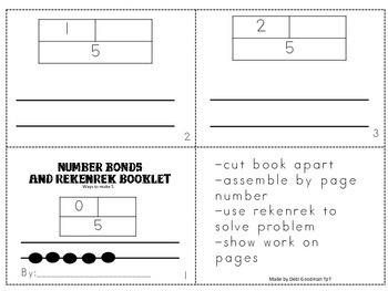 Number Bonds and Rekenrek-4 Student Booklets- how to make