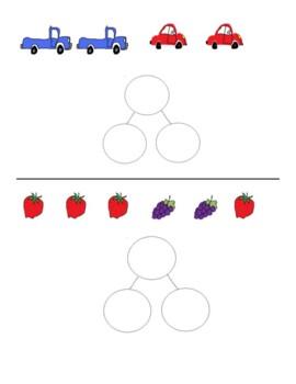 Number Bonds for Kindergarten Beginner Pictures for Number Bonds 6 pages