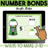 Number Bonds for Kindergarten GOOGLE Classroom distance learning