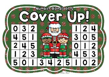 Number Bonds of 5 Cover Up! Christmas Theme