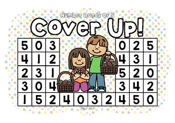 Number Bonds of 5 Cover Up! Easter Theme