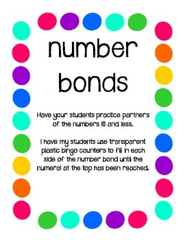 Number Bonds (partners of numbers 10 and less) fill in the dots