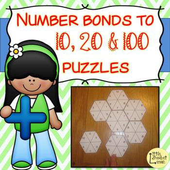 Number Bonds to 10, 20 & 100 puzzles / jigsaws BUNDLE