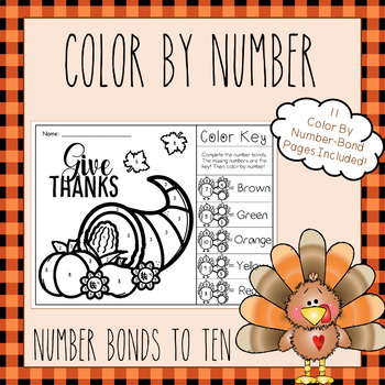 Number Bonds to 10 - Color By Number Bond (Thanksgiving Turkey Theme)