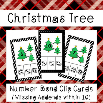 Number Bonds to 10 - Missing Addend Clip Cards (Christmas Tree Theme)