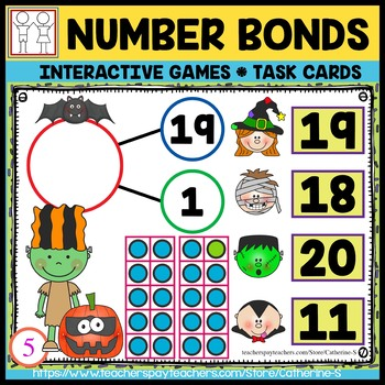 Number Bonds to 20 Games Halloween by Catherine S | TpT