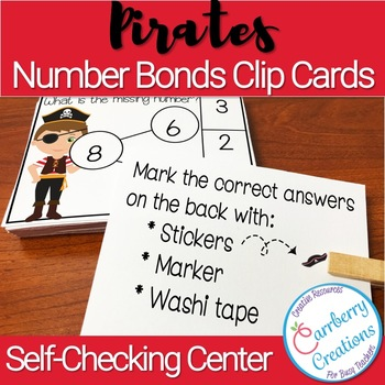 Number Bonds to 20 Task Cards Center Pirates Theme