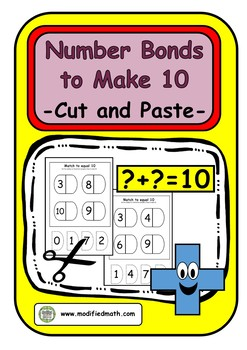 Number Bonds to Make 10 Cut and Paste Sheets