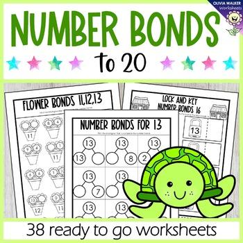 Number Bonds to 20 (Twenty ) Worksheets / Printables / No Prep