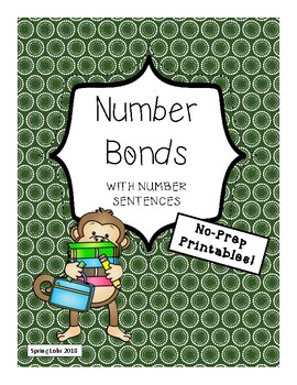 Number Bonds w/Number Sentences - No-Prep - 5 Printables - Sums 8, 9, 10