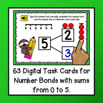 Number Bonds with Sums 0 to 5 PAPERLESS Digital BOOM Task Cards {NO PREP!}