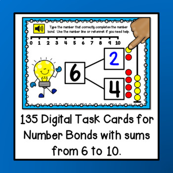 Number Bonds with Sums 6 to 10 PAPERLESS Digital BOOM Task Cards {NO PREP!}