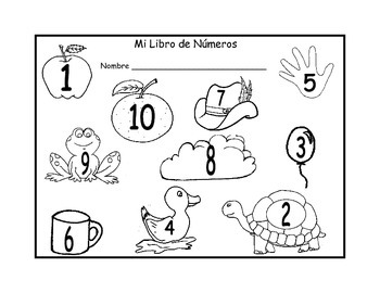 Number Book 1-10 in Spanish