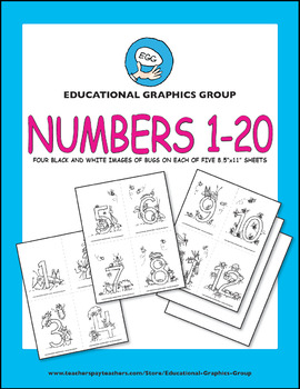 """Number Bugs in Black/White - 4.25"""" x 5.5"""""""