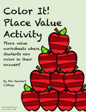 """Color It"" Place Value Worksheets"