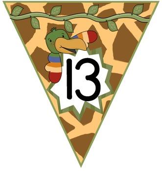 Number Bunting Chart: Giraffe Print, Jungle Theme