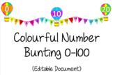 Number Bunting Display 0-100- EDITABLE