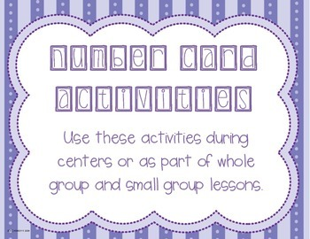 Number Card Activities