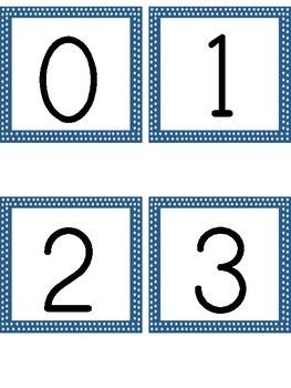 Number Flashcards 0-100 Blue Dot