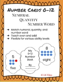 Number Cards 0 - 12 for Learning Centers