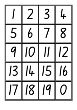 Number Cards 0-19