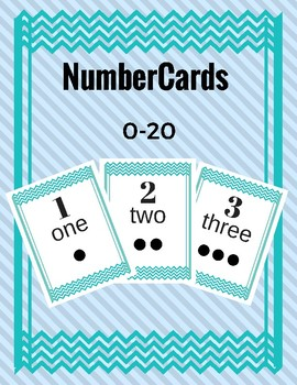 Number Cards 0-20 Chevron Aqua/Teal