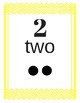 Number Cards 0-20 Chevron Primary Yellow