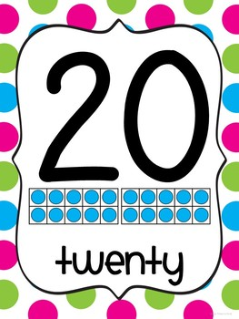 Number Cards 0-20 ~Multi-Colored Polka Dot Theme