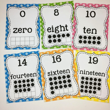 Number Cards 0-20- Numbers, Number Words and Ten Frames Polka Dot Theme