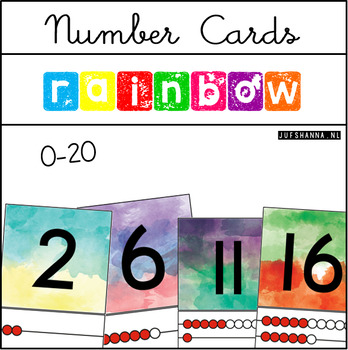Number Cards (0-20) {Rainbow watercolor}