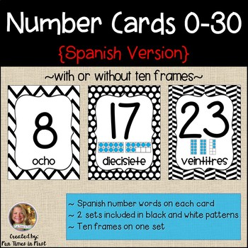 Spanish Number Cards 0-20 ~ Black and White Theme