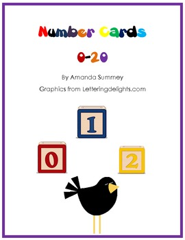 Number Cards 0-20 for Games and Posters