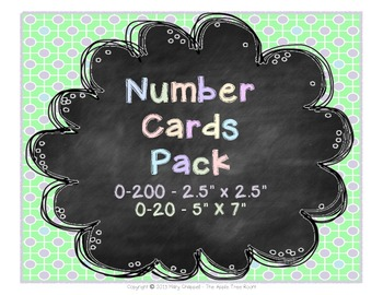 Number Cards 0-200 and 0-20 Chalkboard Theme