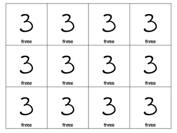 Number Cards (0-9) Common Core