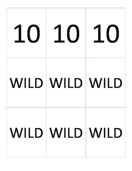 Number Cards (1-10 and WILD)