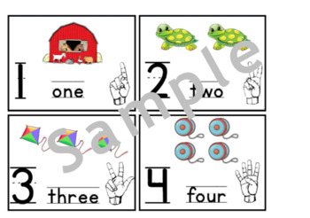 Number Cards 1-10 with ASL