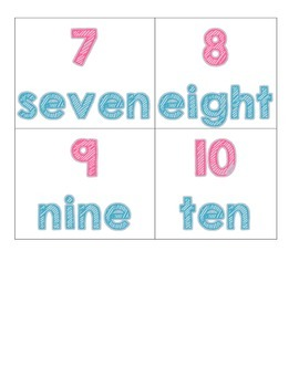 Number Cards 1-10 with words