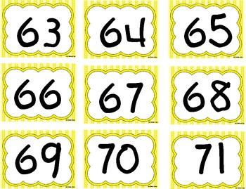 Number Cards 0-125