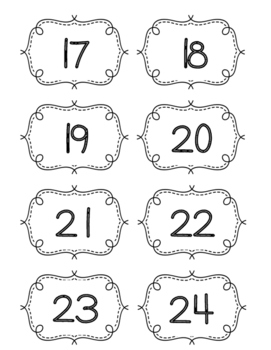 Number Cards 1-100 Black and White